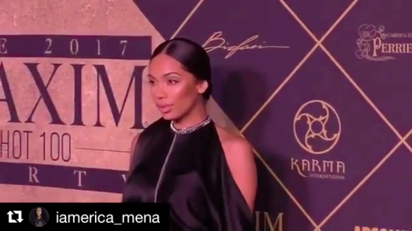 Tv star ⭐️ @iamerica_mena looks dashing on the  @maximmag red carpet wearing our designers ✨ #jewelry made by  @sambacjewelry Stylist: @joshuaomarjohnson fashion provided by  #ivanbittonstylehouse  #MaximHot100  #ootd  #designer  #fashionstylist  #tvstar  #ericamena