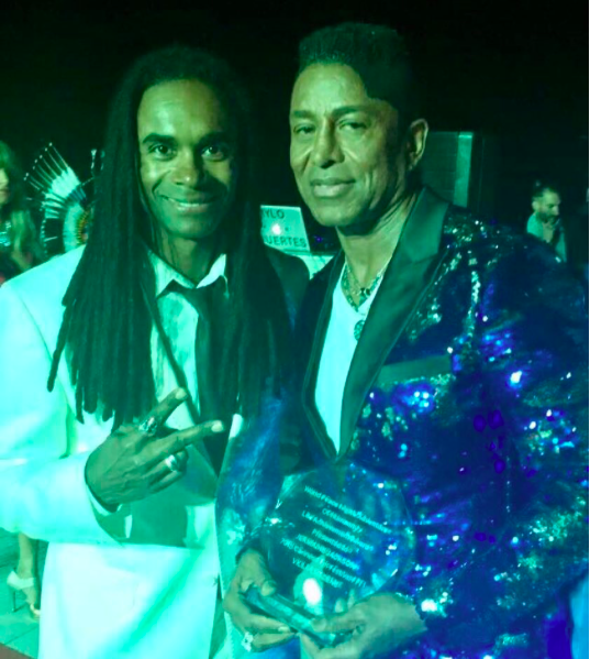 Iconic moment!! @fabmorvan from  #millivanilli and  @officialjermainejackson from legendary  #jackson5 wearing a jacket by our designer  @barabas_men Styled by  #teambitton  @leisastylediva Fashion Provided by  #ivanbittonstylehouse