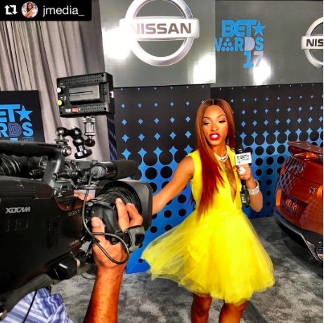 @bet star presenter  @jmedia_ hosting the  @bet awards wearing our designers  @marcellvonberlin  @pascale_guin  @sambacjewelry styled by  @moonglowmclean fashion provided by  #ivanbittonstylehouse  #fashiondesigner  #style  #ootd  #bet  #t  #shock
