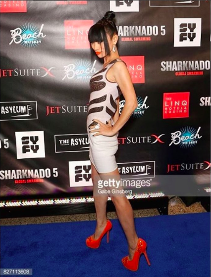Actress  @realbailing promoting her new summer blockbuster  #sharnado5 at the premiere of the movie wearing a dress by our designer  @danrichters , shoes by our Italian designer  @kilame and jewelry by our American designer  @sambacjewelry In-house styling by  #teambitton  @leisastylediva Fashion Provided by  #ivanbittonstylehouse