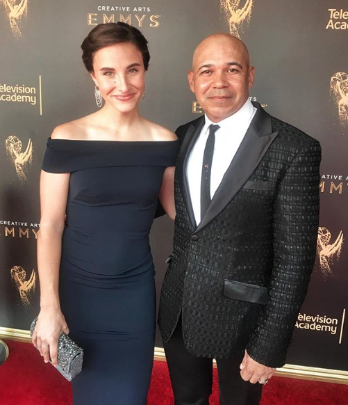 ivanbittonstylehouse WINNER! Emmy award 2017 winner  @iameddieperez  for his  #1  Hit show  @shameless  looking super good with his date  @katherine_cronyn  on the red carpet after winning his second Emmy wearing our designers  @barabas_men   @luvmyjewelry   @nicolebakti  @ottavianiofficial   @sambacjewelry