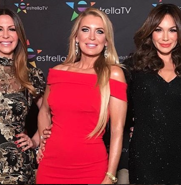 The beautiful star of hit show  @rflatinatv Rica Famosa Latina  @sandravidalla looking fantastic at the launch of season 5 of the show on  @canalestrellatv in a dress by our designer  @nicolebakti
