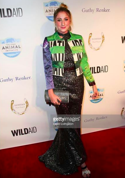 Celebrity blogger & socialite  @alexa_curtis looks stunning at the  @wildaid red carpet wearing our designers! Dress made by  @love.kara shoes made by @kilame styled by