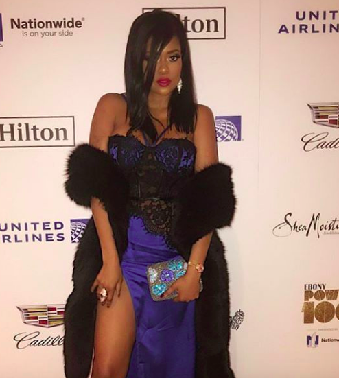 The sensational Digital powerhouse  @karencivil strikes the  @ebonymagazine red carpet wearing our designers ✨ @ottavianiofficial  @sambacjewelry styled by  @jamar_hart fashion provided by