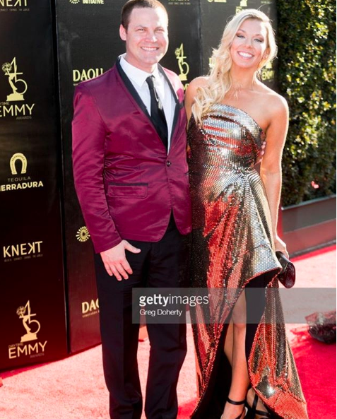 Emmy award winning producer from hit tv show  @thebaytheseries   @jaredsafier  and lovely girlfriend  @taraleightalk  spotted at the  #DaytimeEmmys  red carpet wearing our designers  @barabasmen   @aelkemi_inc styled by  #teambitton  Mia fashion provided by  #ivanbittonstylehouse  #style  #emmys  #celebrity  #fashiondesigner