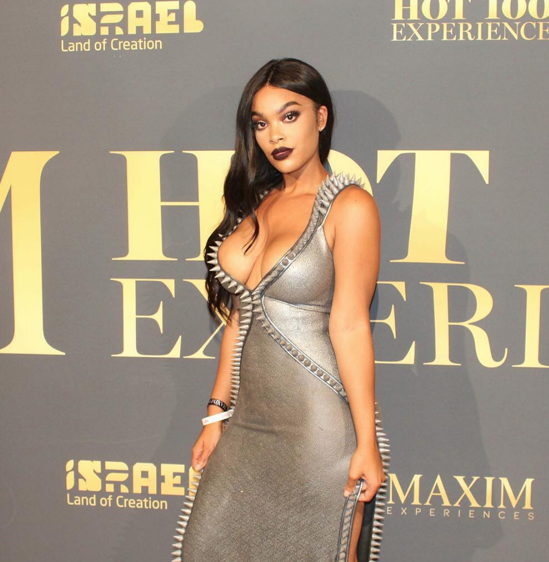 Stunning  @vh1  star for hit show  @basketballwives   @_mehganj shot down the  @maximmag   #hot100  red carpet due to her hotness wearing our designers  @danrichters  styled by  #nikko fashion provided by  #ivanbittonstylehouse