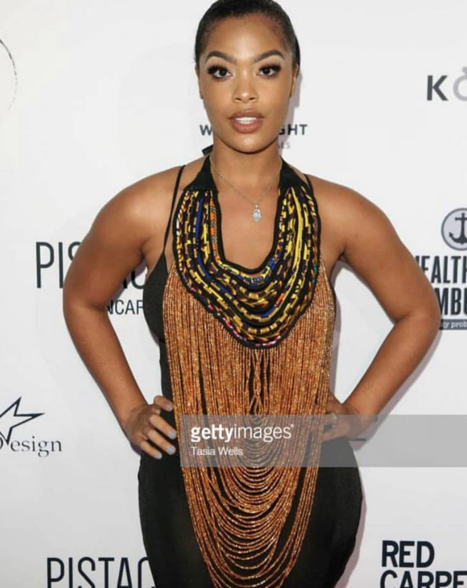 The gorgeous  @vh1 star  @_mehganj  from hit show  @basketballwives  rocking a fantastic neck piece by our African designer  @aphiasakyi managed by  @elenanazaroff  Styled by  #nikko  fashion provided by  #ivanbittonstylehouse
