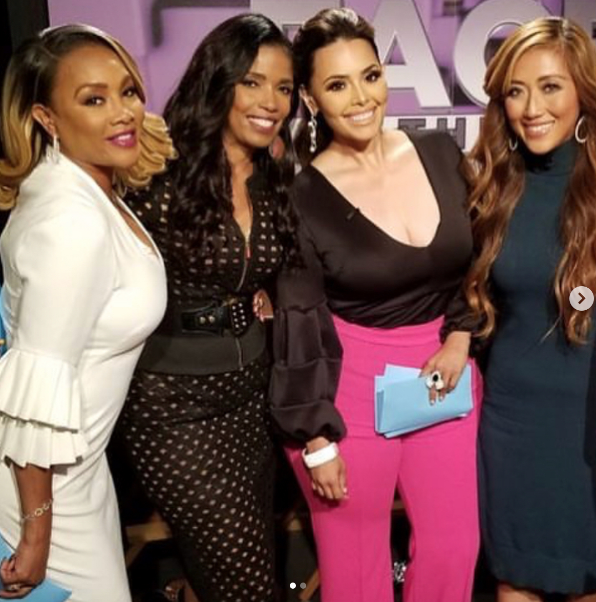 #bts  upcoming new show on  @cbstv  hosted by  @msvfox  Vivica Fox and  @rosiemercado   @facethetruthtv wearing our designers  @sambacjewelry  @hayariparis  and  @rougebyroojamir  Styled by  @tomsoluri_style  Fashion provided by  #ivanbittonstylehouse