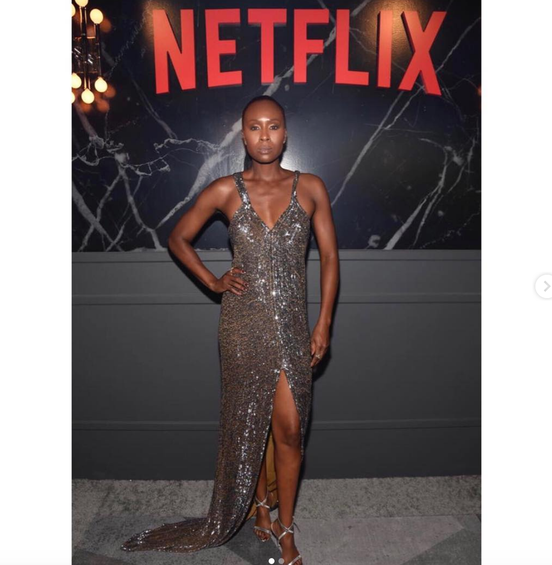 @netflix star from Emmy awards nominee hit tv show  @glownetflix   @sydellio  looking radiant at the  @netflix  Emmy awards after party red carpet wearing our designer from Germany  @anyaliesnik  styled by  @deborahfergusonstylist  fashion provided by  #ivanbittonstylehouse