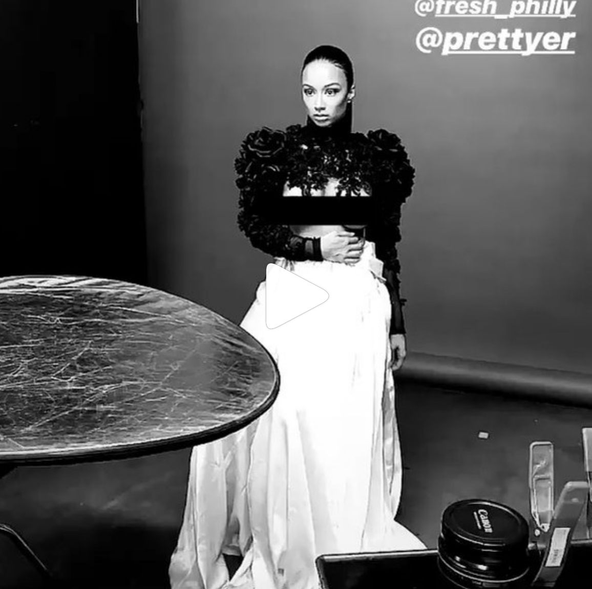 Tv star and digital sensation  @drayamichele  wearing our fabulous designer  @lorysunartistry  couture top for this upcoming fashion editorial styled by  @fresh_philly  fashion provided by  #ivanbittonstylehouse