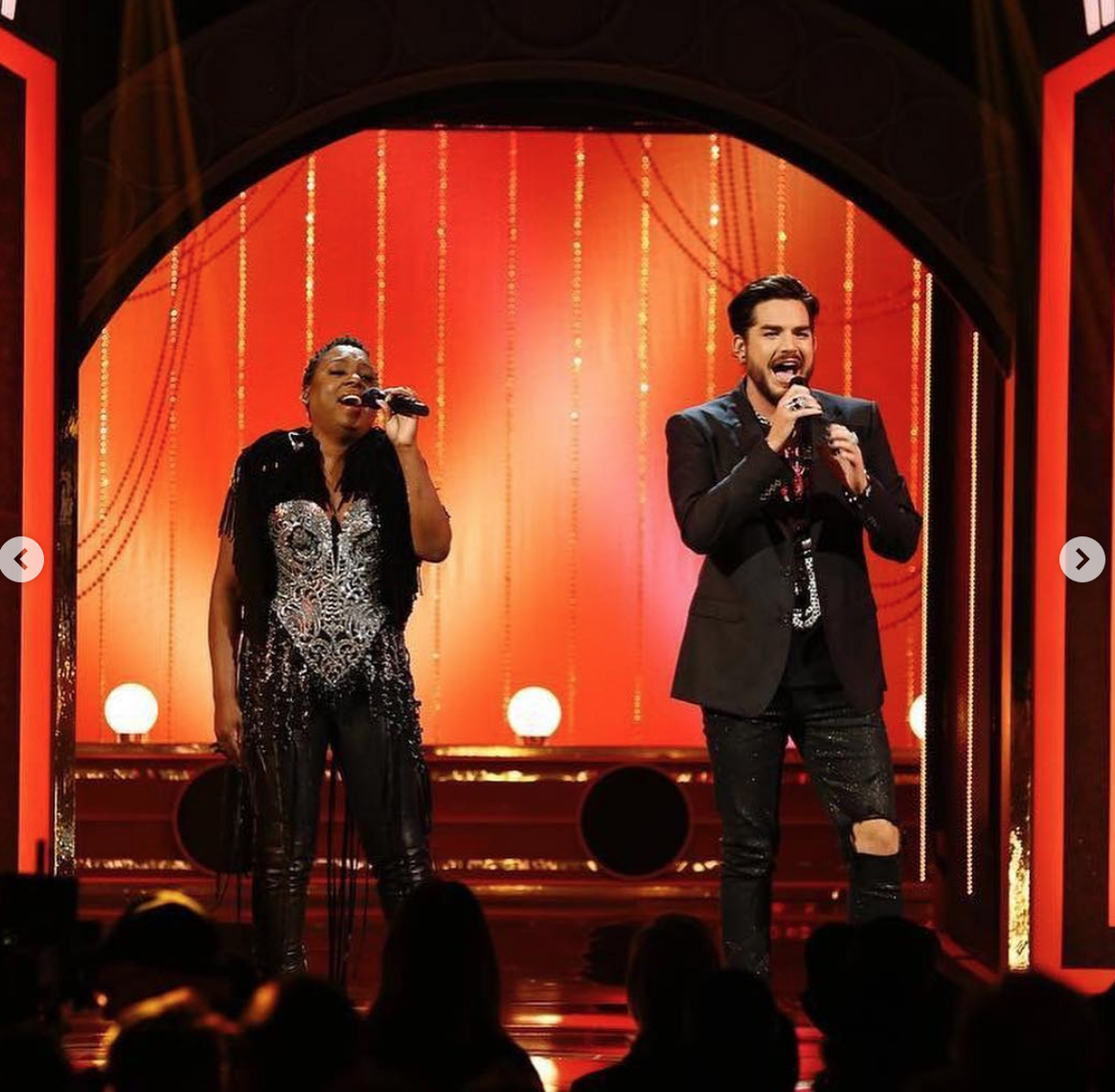 Stunning appearance on  @nbc  for the worldwide most amazing musical  @wicked_musical starring  @ledisi  &  @adamlambert  wearin gour fashion designers  @lorysunartistry  #frontrow  styled by  @goldeeluxe  fashion provided by  #ivanbittonstylehouse
