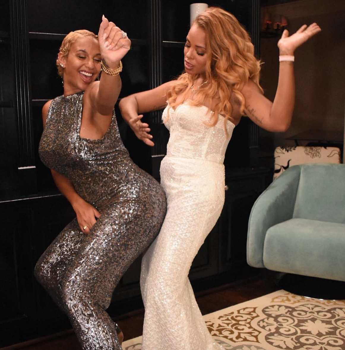 Spotted ! Model and  @neyo  beautiful wife  @itscrystalsmith looking super dashinghaving fun with besti  @bravotv  star  @evamarcille  wearing our German designer  @anyaliesnik  fashion provided by  #ivanbittonstylehouse