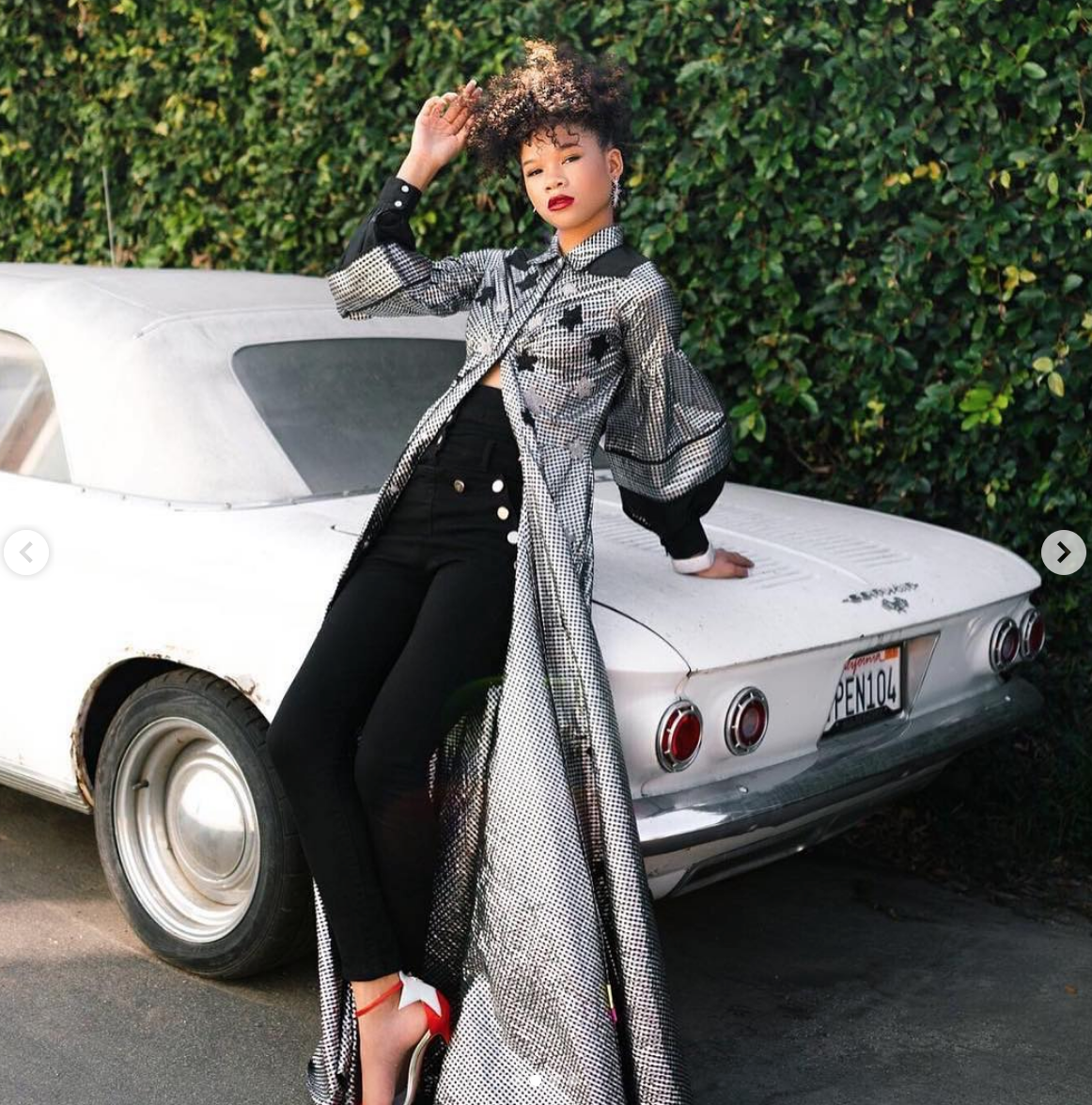 @oprah  's protégée Actress  @stormreid  looking fabulous on this  #bts  for an upcoming magazine editorial coming up soon wearing our designers  @sambacjewelry   @hayariparis styled by  @Angeltailan  fashion provided by  #ivanbittonstylehouse