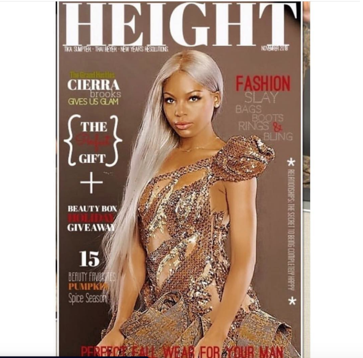 COVER! The beautiful  @bet  star from  #1  hit show  @grandhustlebet   @officialcierrabrooks gracing the cover of America's premier urban magazine  @heightmag  in a dress by our French designer  @hayariparis  @shotbysham  Style and fashion provided by  #ivanbittonstylehouse