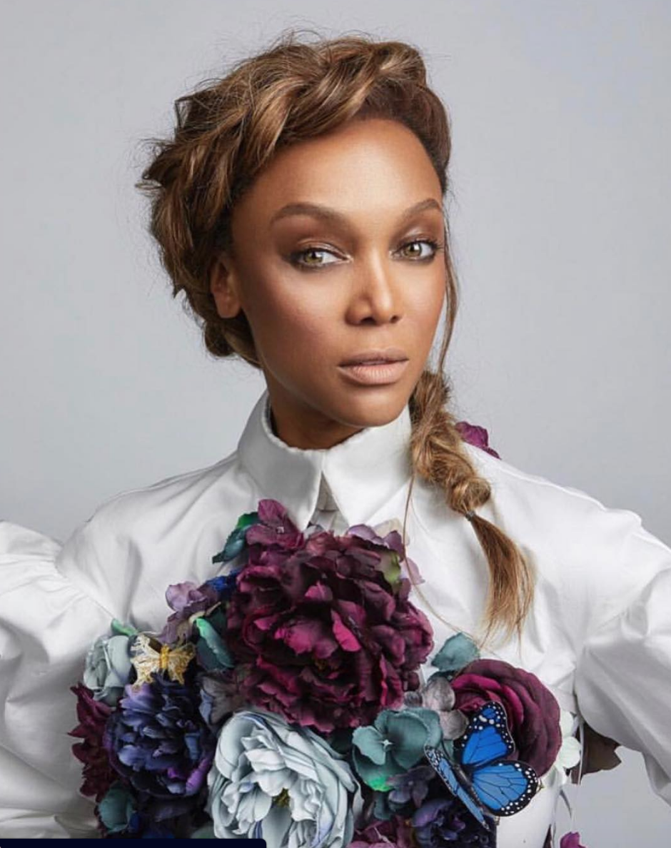 American superstar  @tyrabanks  giving us fierce galore with a flower top by our designer  @anee_official Styled by  @jstylela  Fashion provided by  #ivanbittonstylehouse