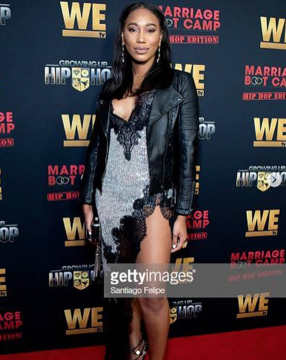 @wetv  star  @tee_fran  from  #1  hit show  @guhh_wetv  ' Growing up Hip Hop' arrives at the launch party of the new season of her show dressed in a dress by our designer  @anyaliesnik  and earrings by our designer  @rougebyroojamir  Styled and fashion provided by  #ivanbittonstylehouse