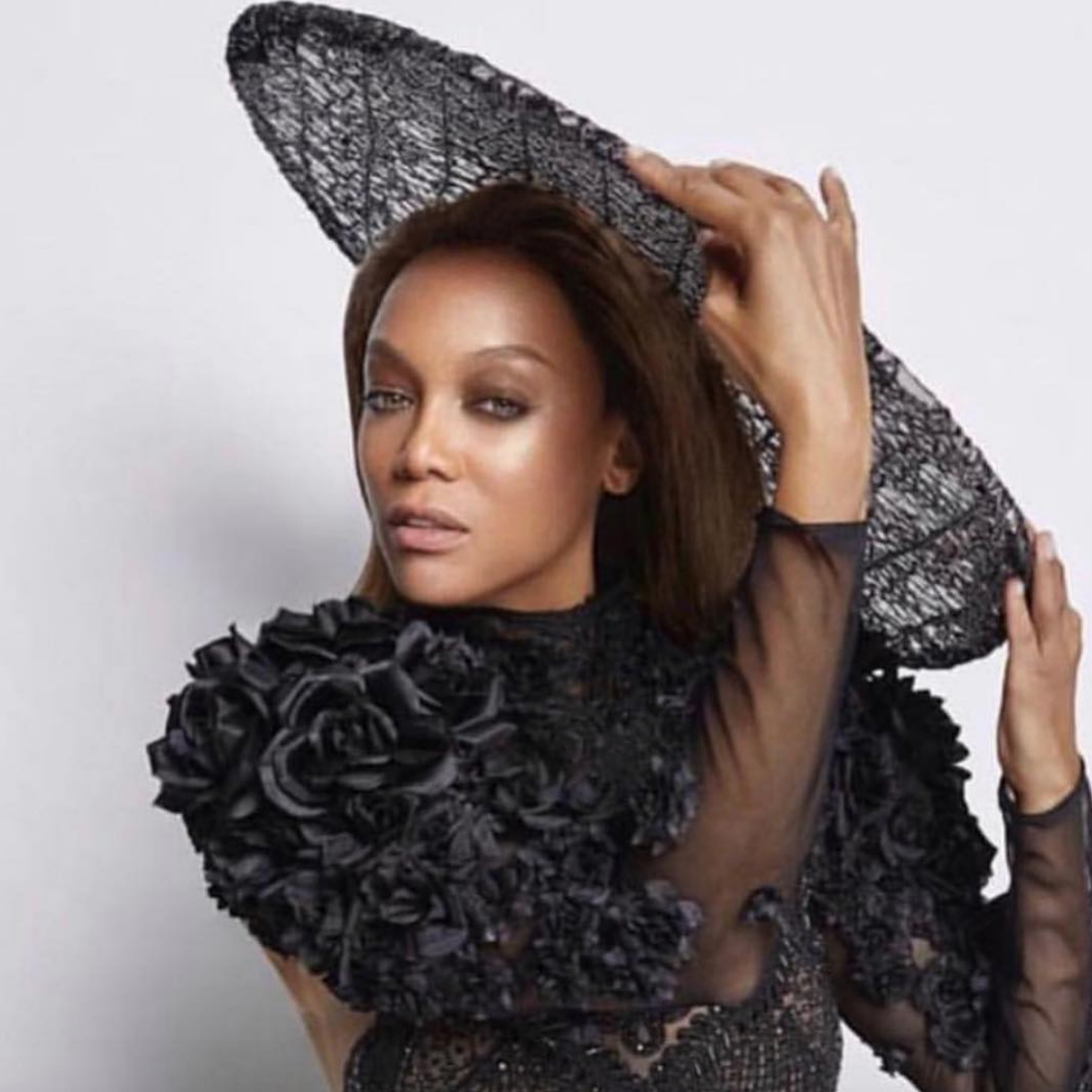 #bts  with American superstar  @tyrabanks  wearing a hat from our designer  @aida.novosel  and a flower shoulder piece by our designer  @lorysunartistry  Styled by  @jstylela  All fashions provided by  #ivanbittonstylehouse