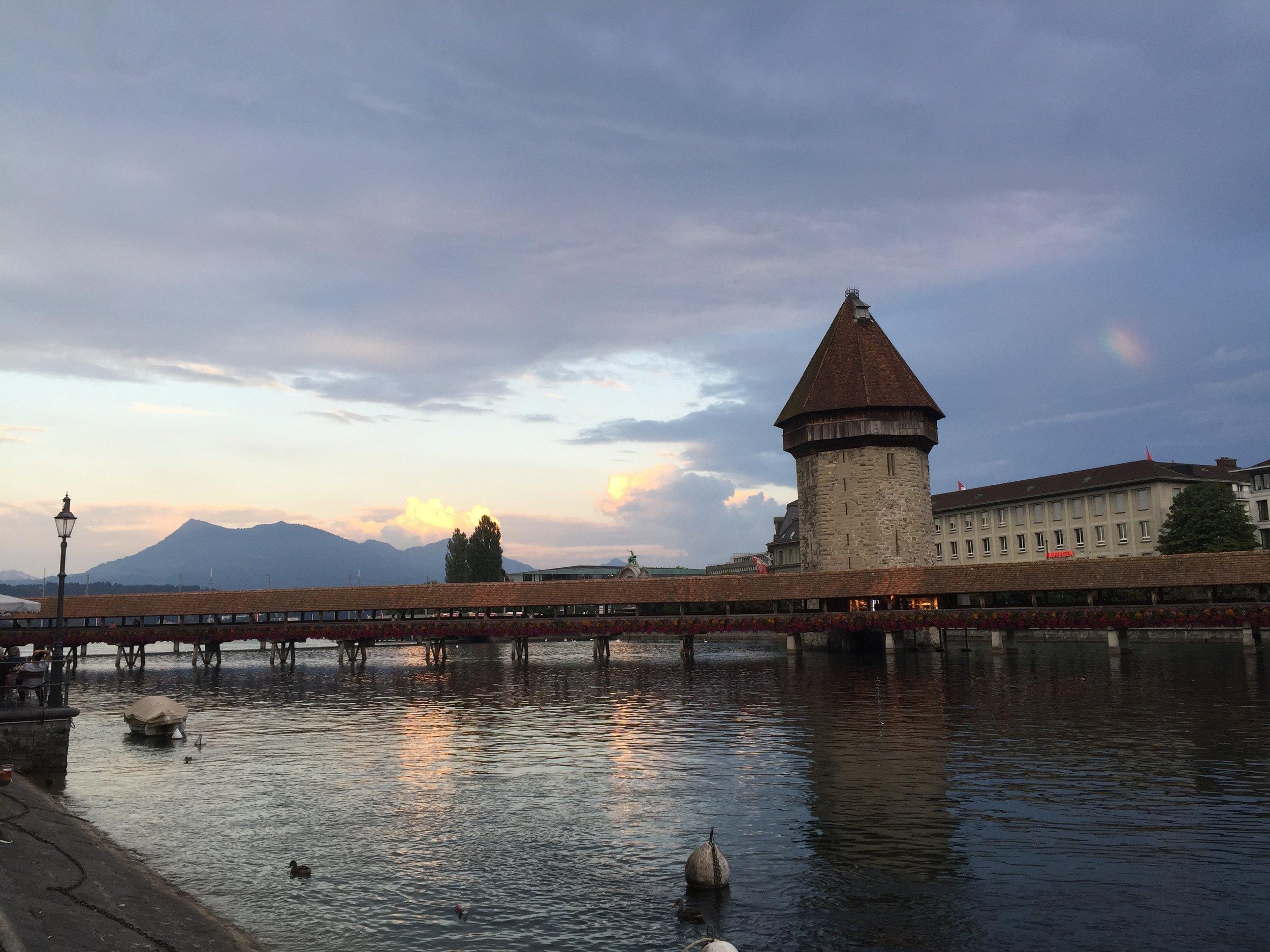 One of Lucerne's famous bridges at sunset