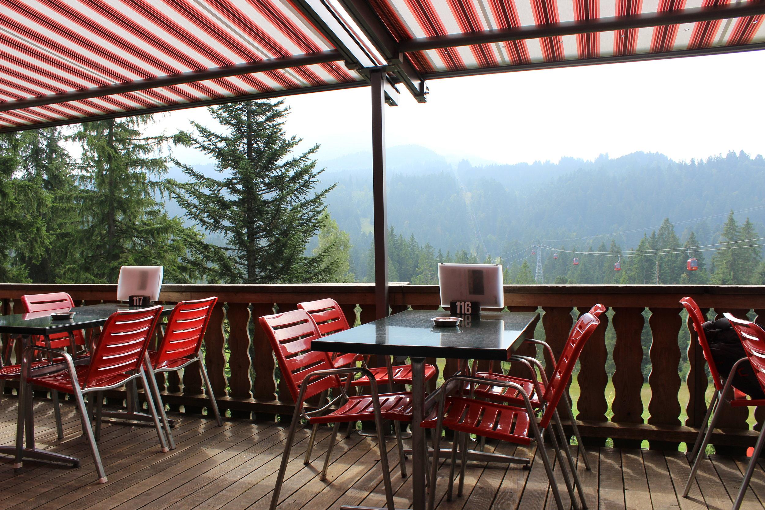 Swiss lunch off gondola stop  Kriensereg