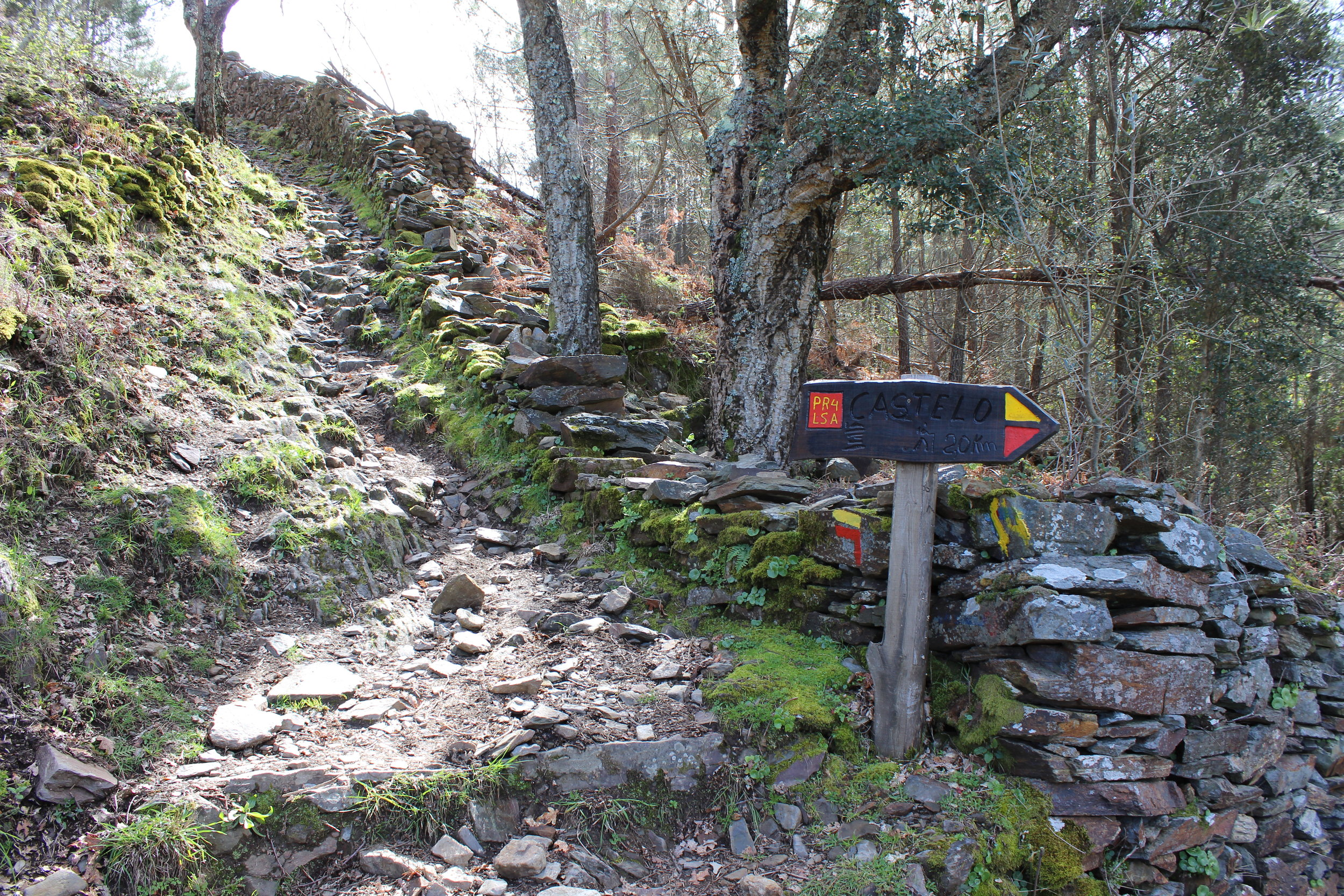 Trail markers, leading you to the castle and villages. The trail has a mixture of pavement, dirt, grassy and rocky walking paths