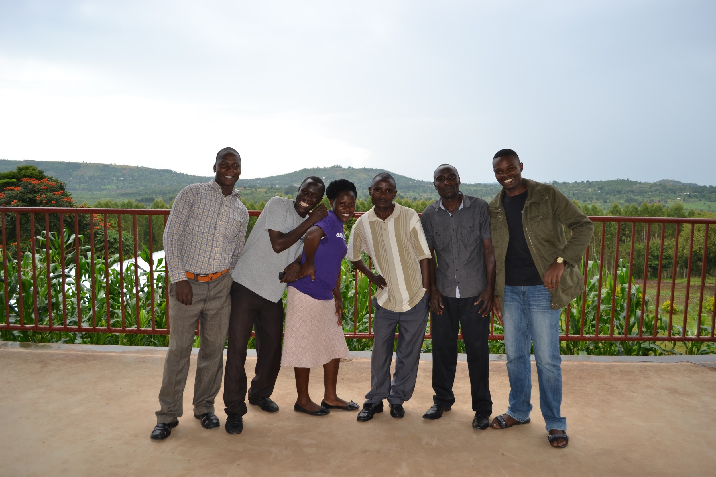 Primary 7 teachers, from left, Robert, Emmanuel, Robinah, Godfrey, Nelson and Jerome