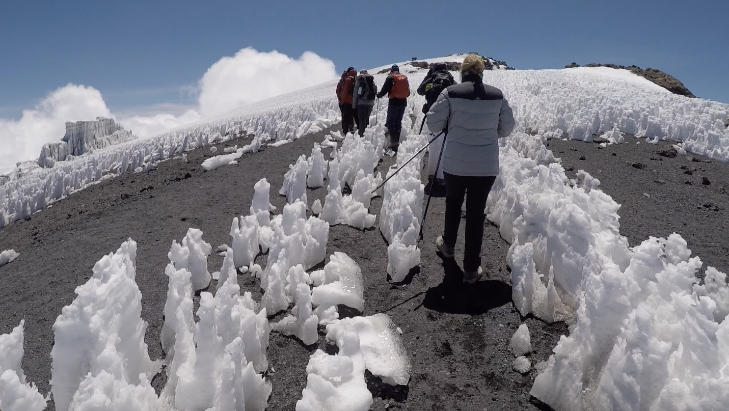 A sight to behold - the glaciers and ice fields on top of Mt Kilimanjaro