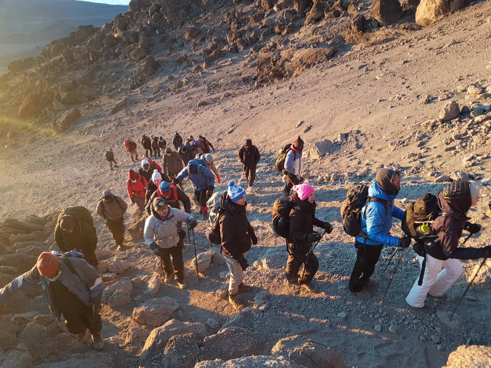 The ascent to summit Mt Kilimanjaro with the sunrise at our backs