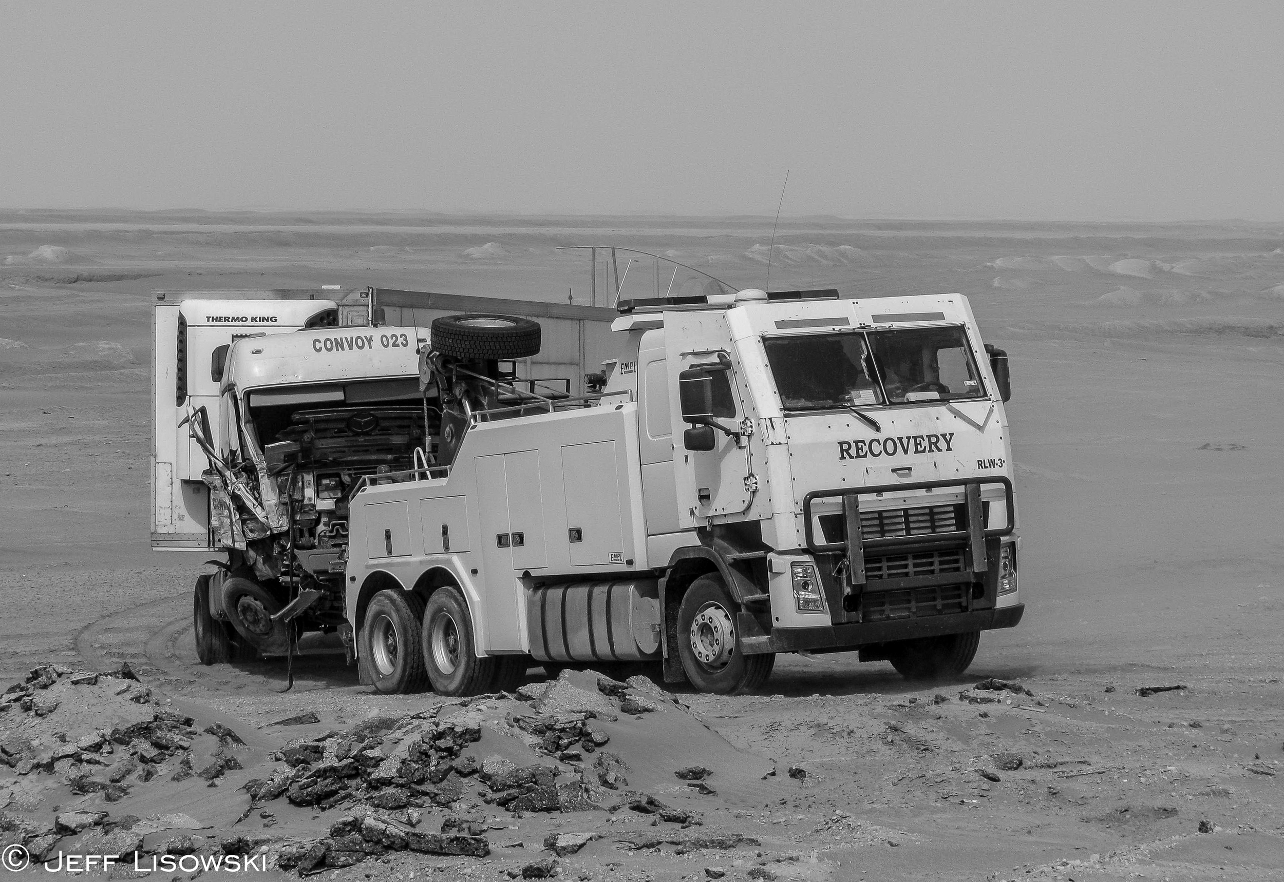 The EMPL wrecker-the workhorse of KBR recovery- on one of both of our last missions. The EMPLs were sent back to Kuwait as they were leased from the Kuwaiti government. Funny how that works.