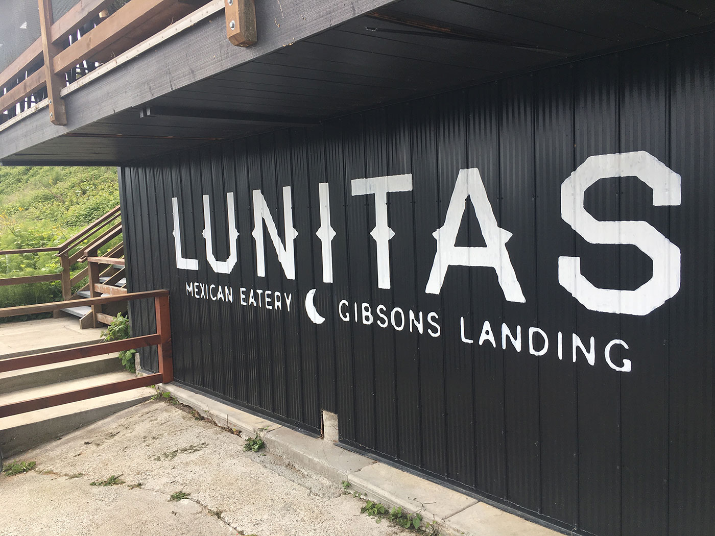 Hand painted Lunitas lettering on corrugated metal