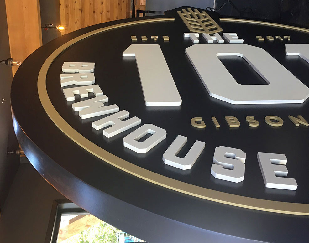The 101 Brewhouse+Distillery Sign fabricated by Peachy Signs