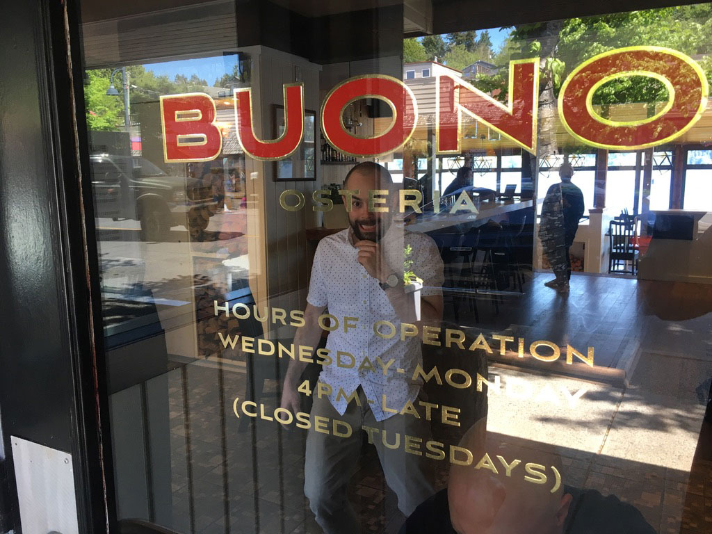 Gold + red vinyl at Buono Osteria in Gibsons. That's Ryan, one of the owners, behind the glass… hi Ryan.