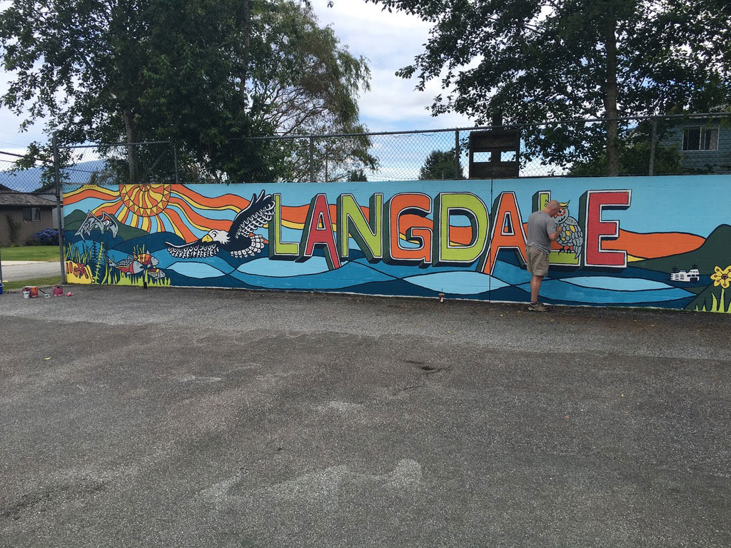 Final community mural painted by the Langdale students and families. All paint was donated by GBS!
