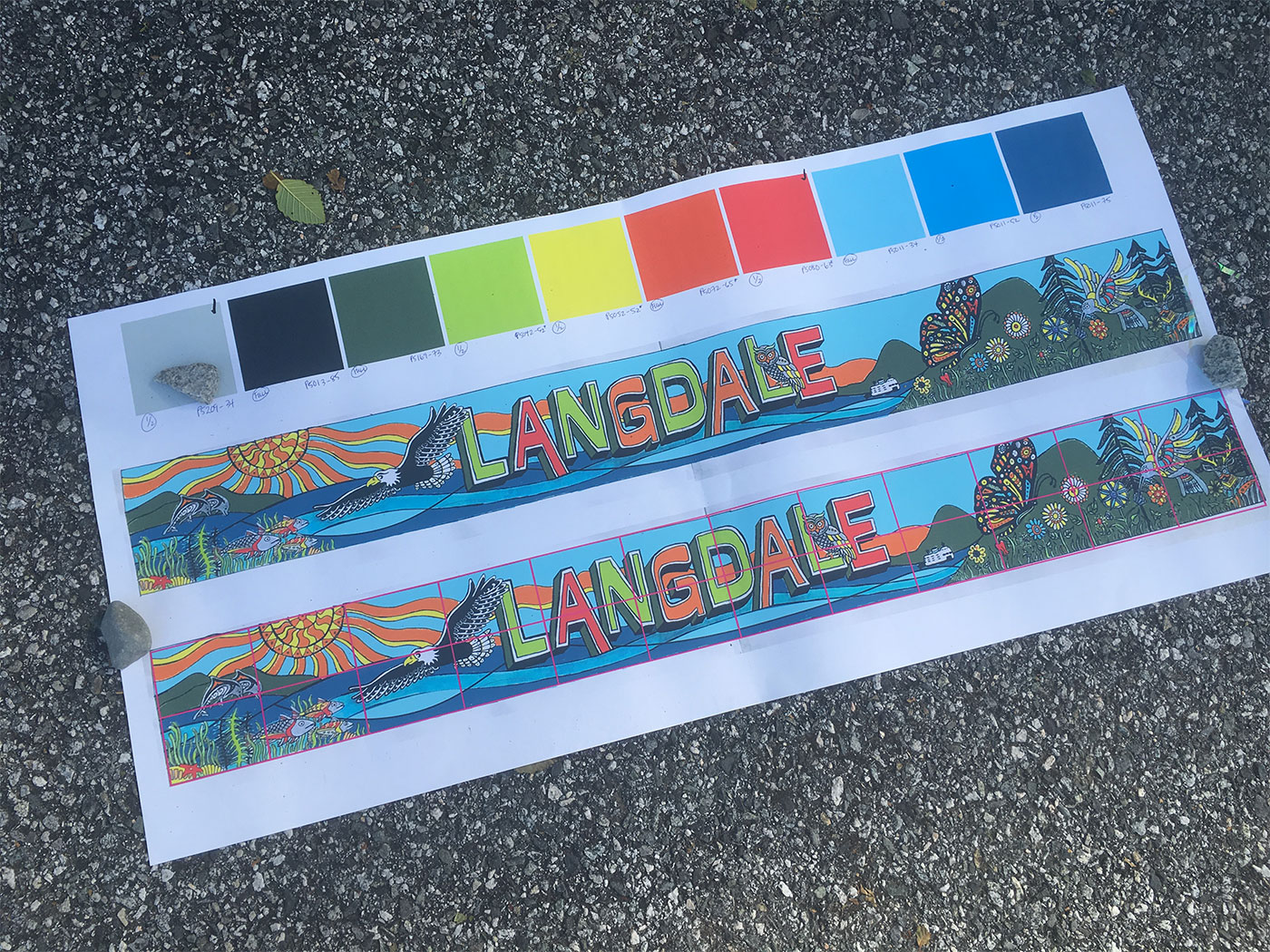 Design for Langdale School Mural collaboration with the students and parents
