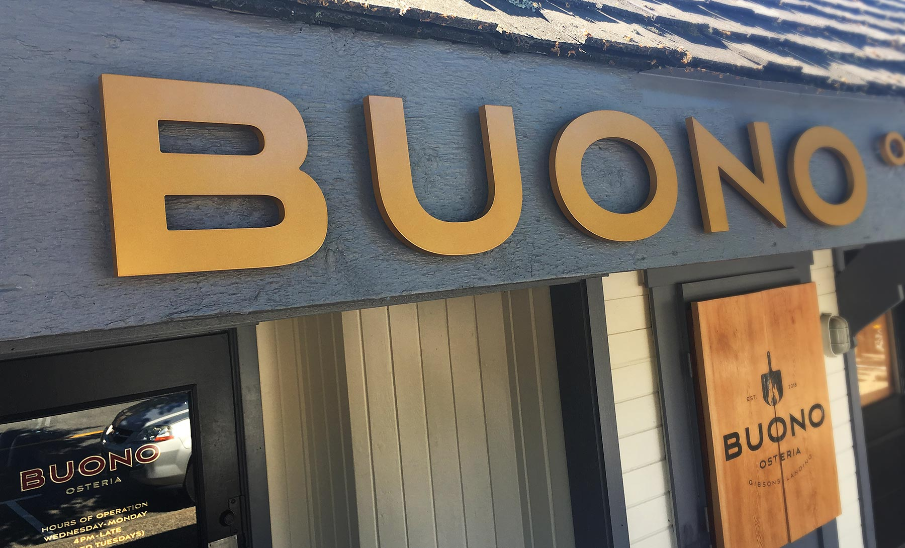 Dimensional lettering for Buono Osteria in Gibsons, BC.