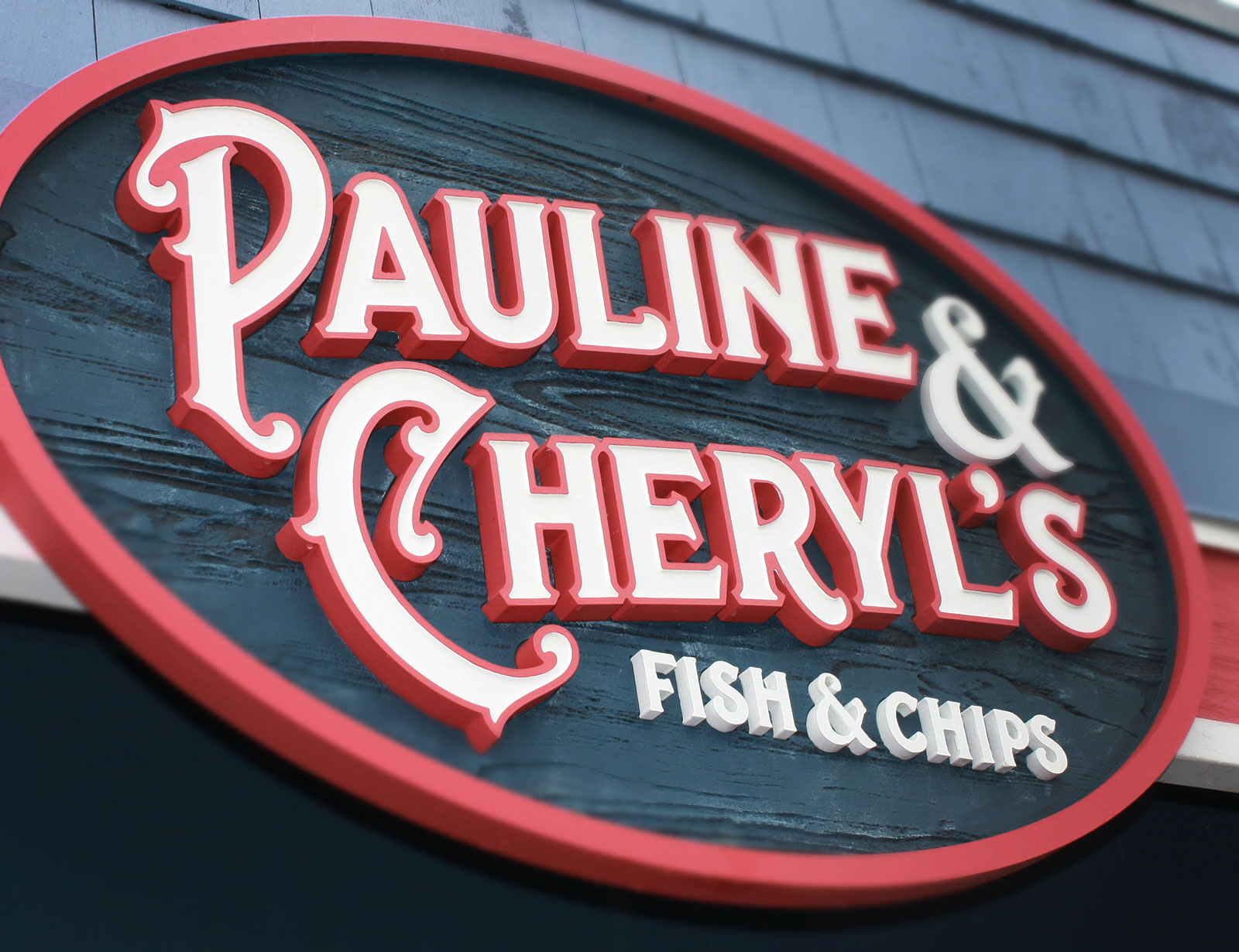 Dimensional main sign for the old Pauline & Cheryl's in Lower Gibsons.