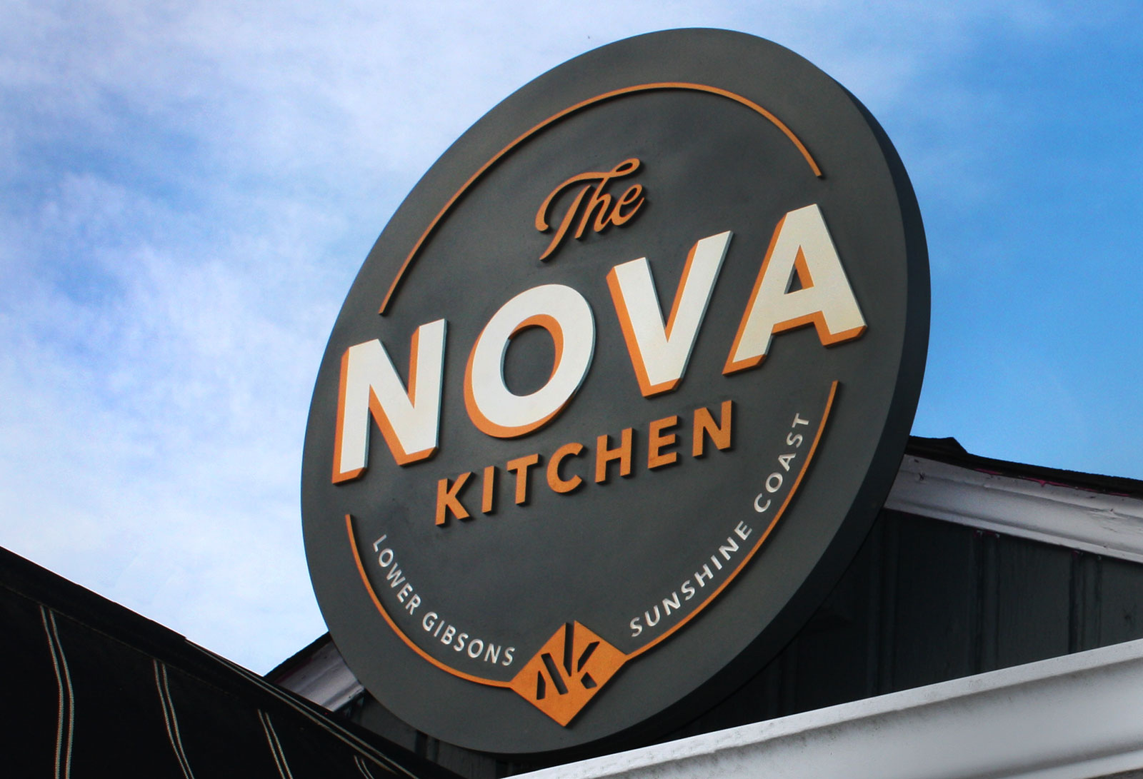 Dimensional sign for Nova Kitchen in Gibsons.