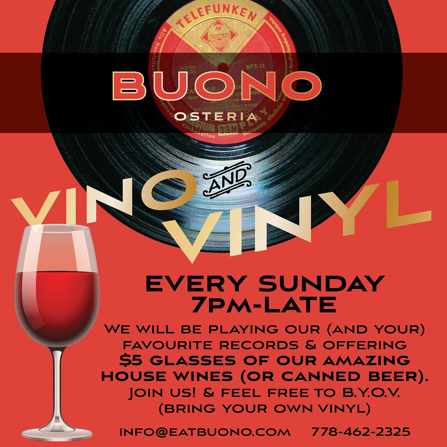 Promo poster for Buono in Lower Gibsons.