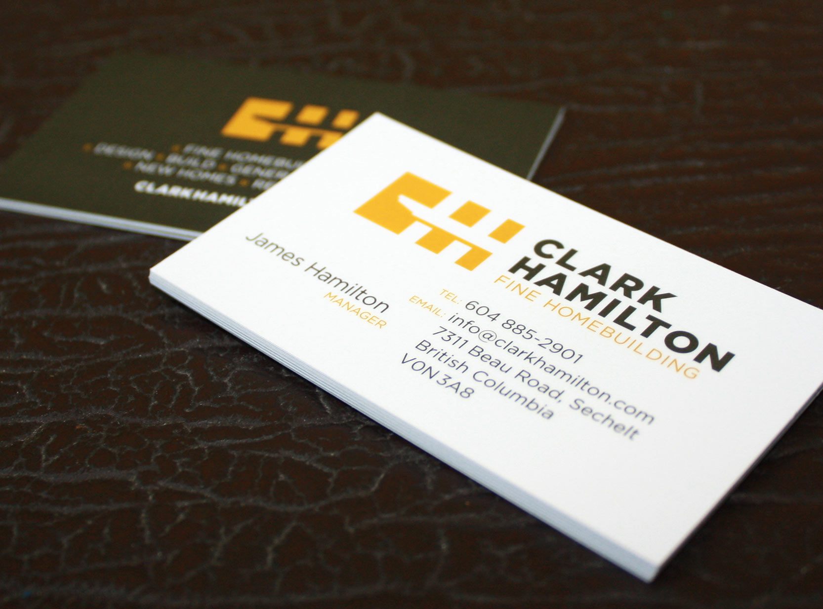 Business cards with a spot gloss varnish for James at Clark Hamilton Fine Homebuilding.