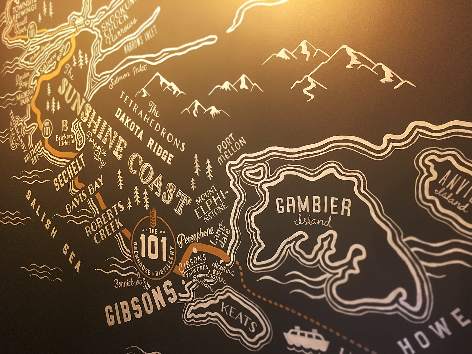 "Our hand painted Sunshine Coast ""Ale Trail"" map at The 101."