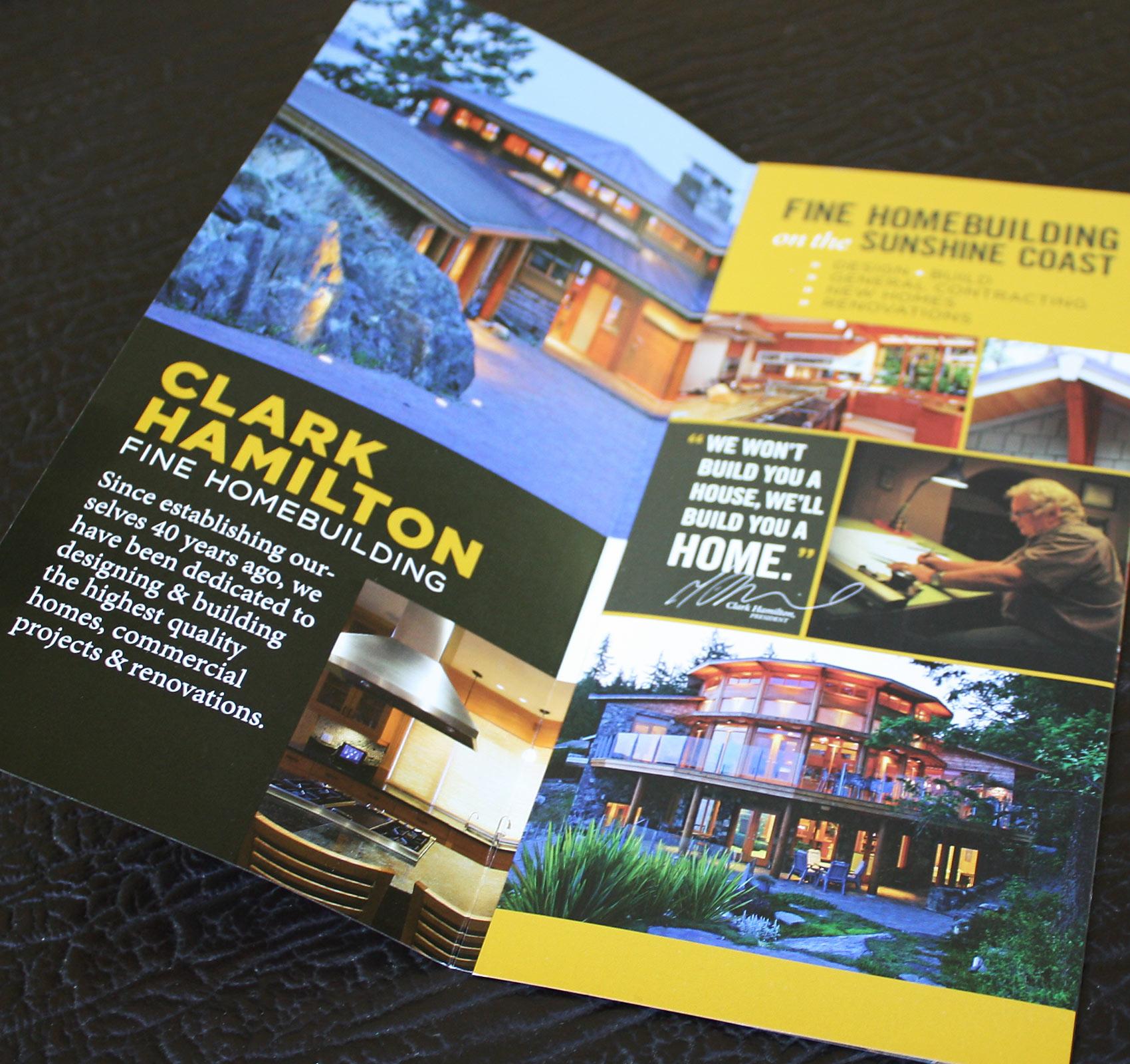 "4"" x 9"" (folded) rack-card brochure design for Clark Hamilton."
