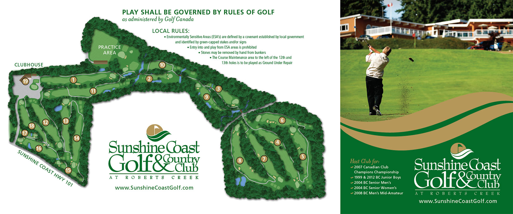 The back of the scorecard, including our illustration of the aerial view of the course, at SCG&CC.