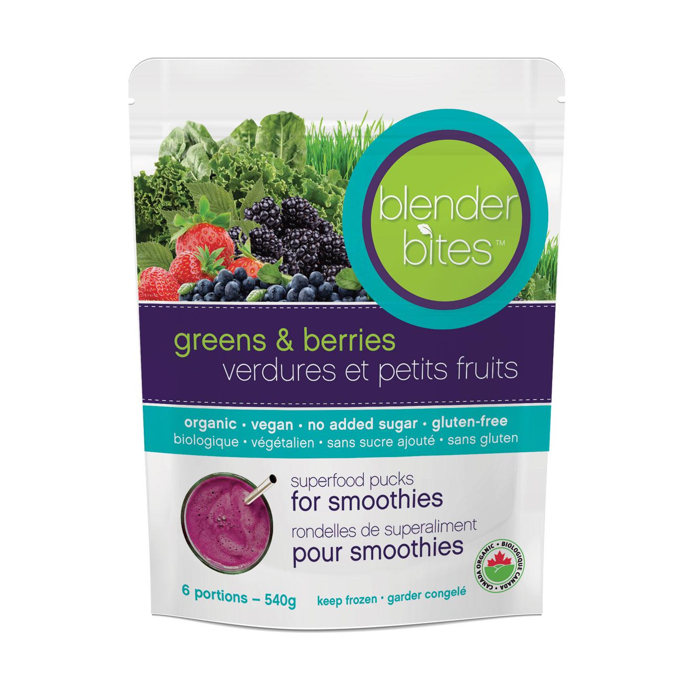 berries & greens blender bites - superfood pucks for smoothies