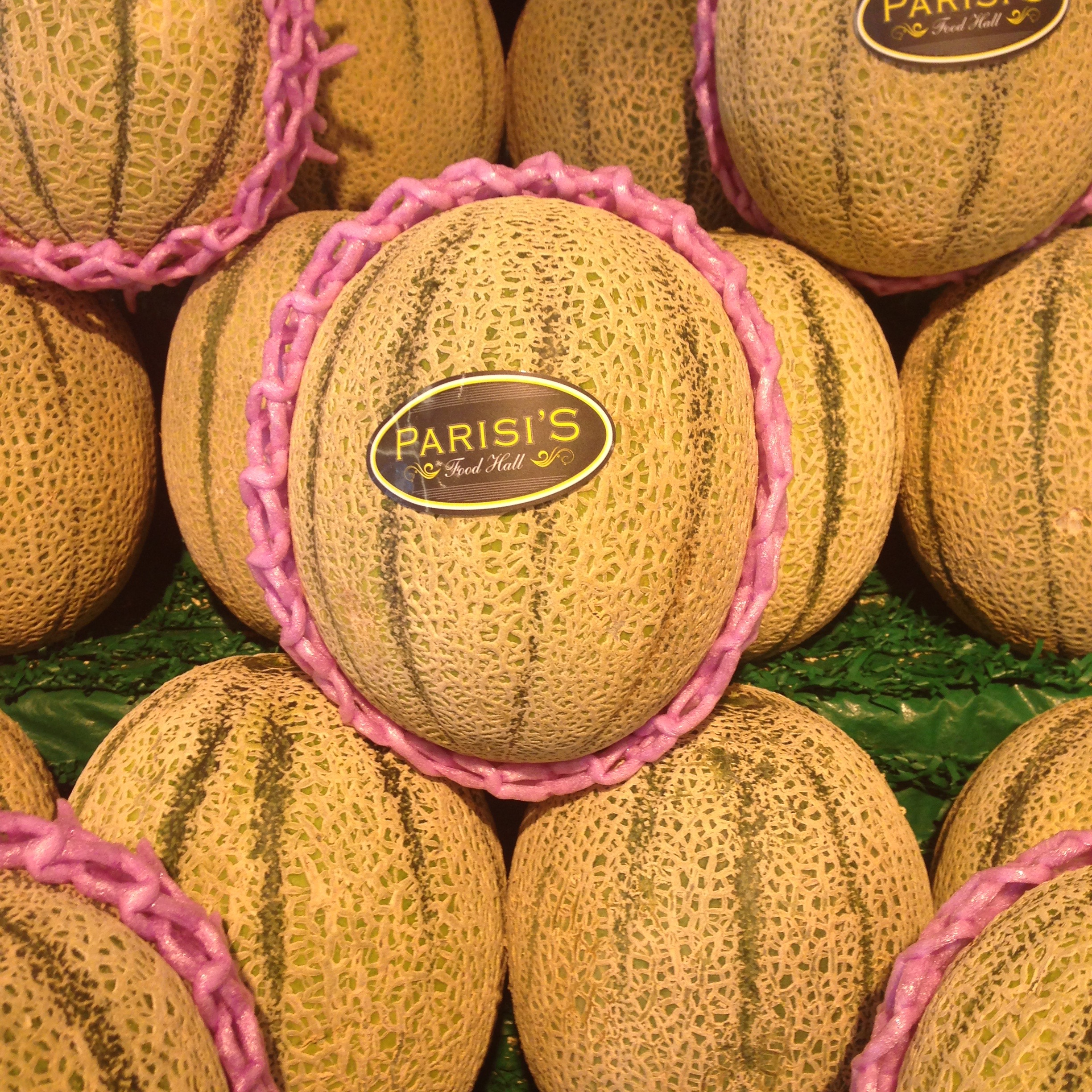 A pink and cheerful rockmellon at Parisi's Food Hall in Rose Bay.