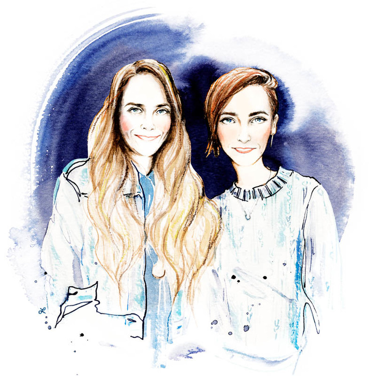 Production Showroom's Tracey Moulton and Brand Assembly's Hillary France -  Illustrations by Lily Qian for The Assemblist