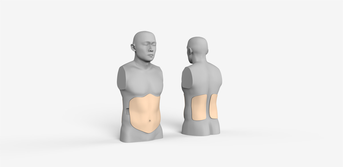 ABE the Tummy Dummy is an abdominal simulator designed in National University of Singapore to enable medical trainees to effectively practice physical examination techniques.