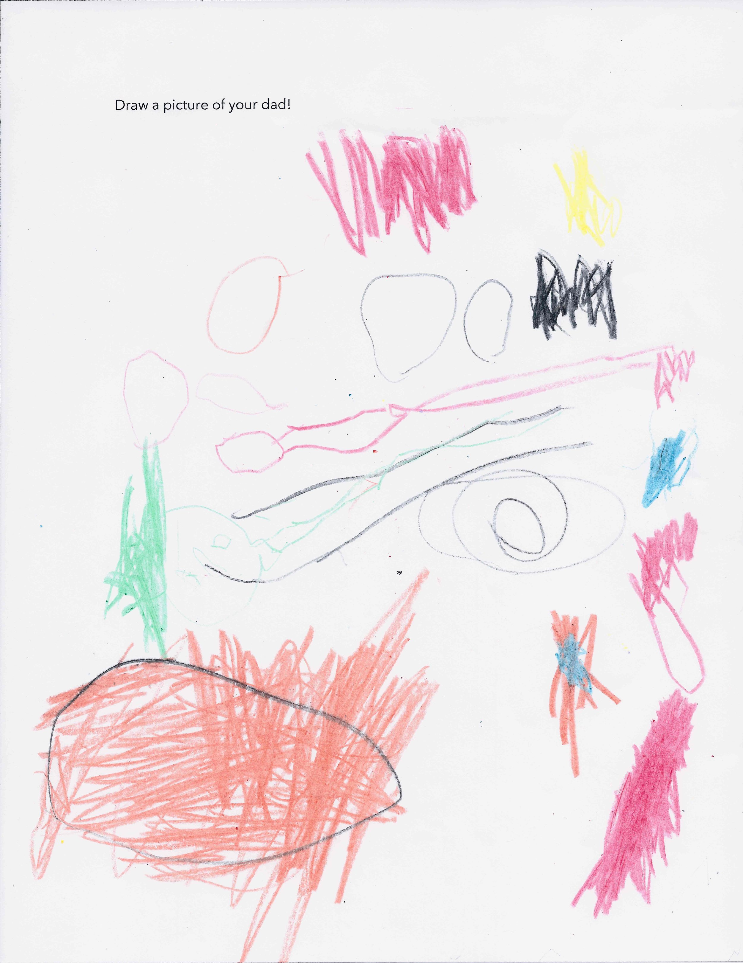 kingston's drawing of his father. and a carrot.