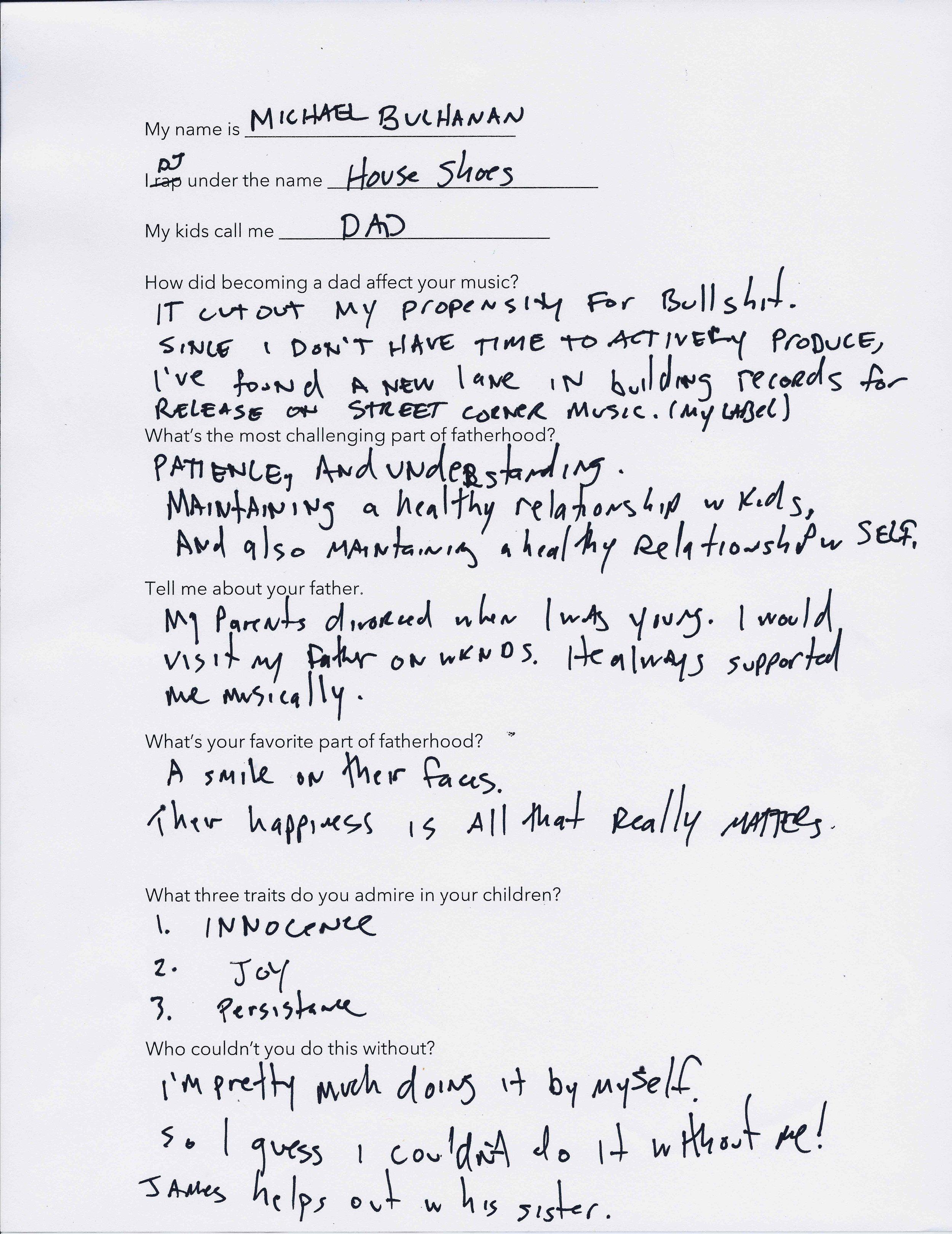 house shoes' questionnaire