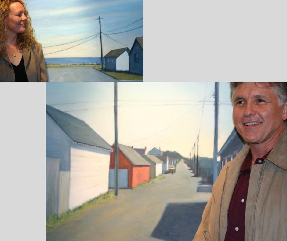 Photos by Deborah Hayden, in front of paintings by Wendy Schwartz