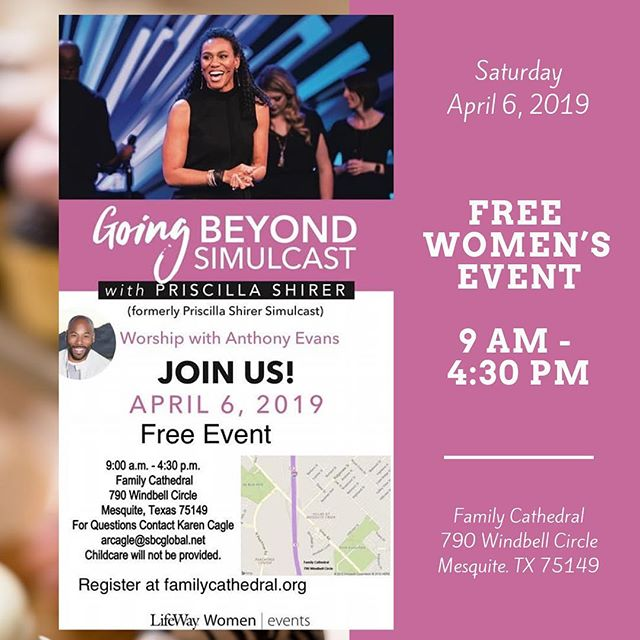So excited that the Priscilla Shirer Simulcast is finally here this weekend! 🎉 It's a FREE women's event at my parent's church in Mesquite on Saturday & it's gonna be AMAZING! I'll be selling cupcakes there as a vendor so make plans to be there & come by to see me if you do!