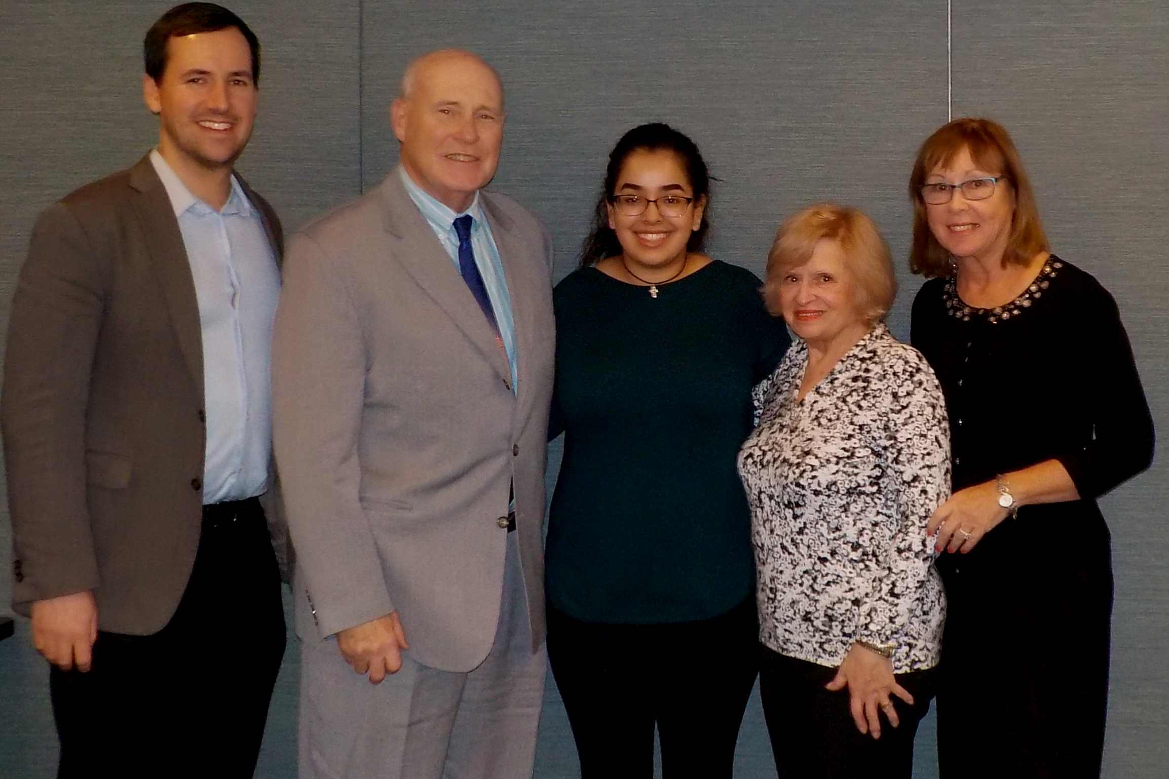 Kevin Gschwind (Study Abroad Coordinator); John H. Mark, Sr.; Melissa Gallardo; Angela P. Mark; Mary Ellen Malone, (Director of Planned Giving)